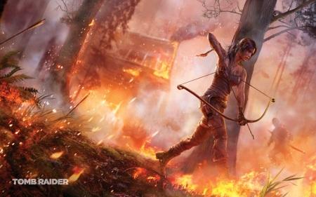 Lara Croft  v horiacom lese