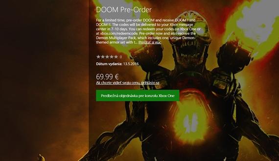 Doom pre Xbox One prid�va k predobjedn�vke hry Doom I a Doom II